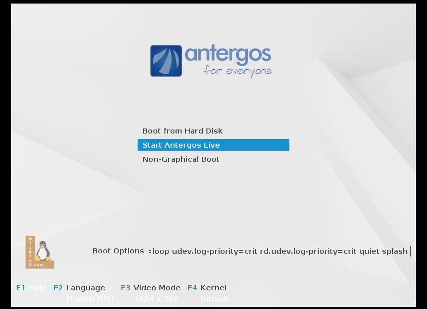"""Επιλέγουμε """"Start Antergos Live"""" και πατάμε """"Enter"""""""