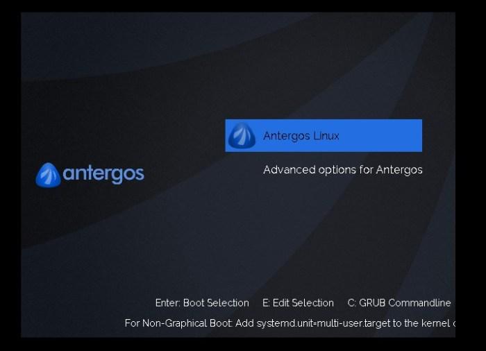 Οθόνη φορτωτή εκκίνησης Antergos
