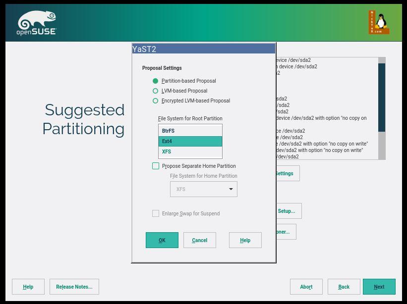 Επιλέγοντας το Edit Proposal Settings μπορούμε να αλλάξουμε το σύστημα αρχείων και άλλες προεπιλογές