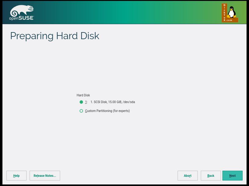Επιλέγοντας το Create Partition Setup μας δίνεται η δυνατότητα να επιλέξουμε άλλο δίσκο, αν διαθέτουμε, ή να μπούμε σε Expert Mode